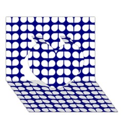 Blue And White Leaf Pattern Heart 3d Greeting Card (7x5)