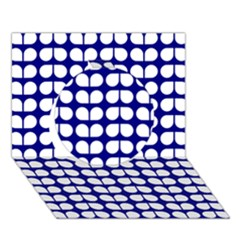 Blue And White Leaf Pattern Circle 3D Greeting Card (7x5)