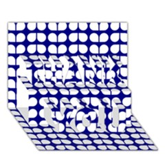 Blue And White Leaf Pattern THANK YOU 3D Greeting Card (7x5)