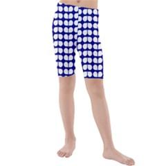 Blue And White Leaf Pattern Kid s swimwear