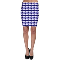 Blue And White Leaf Pattern Bodycon Skirts
