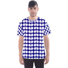 Blue And White Leaf Pattern Men s Sport Mesh Tees