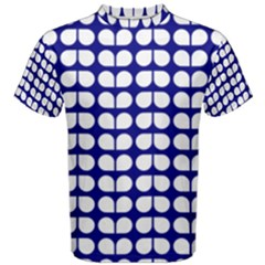 Blue And White Leaf Pattern Men s Cotton Tees