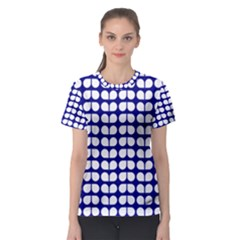 Blue And White Leaf Pattern Women s Sport Mesh Tees