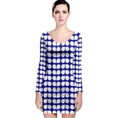 Blue And White Leaf Pattern Long Sleeve Bodycon Dresses