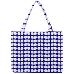 Blue And White Leaf Pattern Tiny Tote Bags