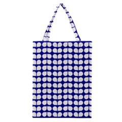 Blue And White Leaf Pattern Classic Tote Bags