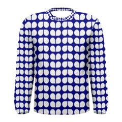 Blue And White Leaf Pattern Men s Long Sleeve T Shirts