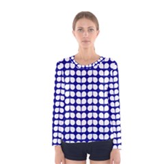 Blue And White Leaf Pattern Women s Long Sleeve T-shirts