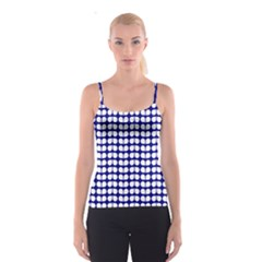 Blue And White Leaf Pattern Spaghetti Strap Tops