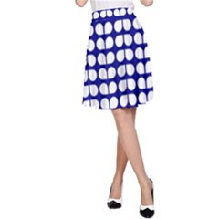 Blue And White Leaf Pattern A Line Skirts