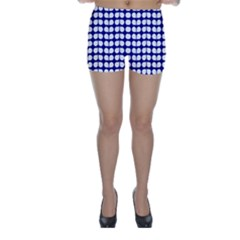 Blue And White Leaf Pattern Skinny Shorts