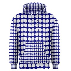 Blue And White Leaf Pattern Men s Pullover Hoodies