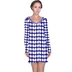 Blue And White Leaf Pattern Long Sleeve Nightdresses