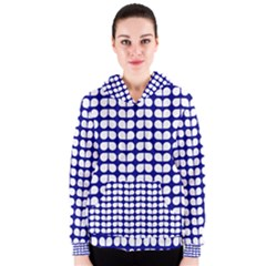 Blue And White Leaf Pattern Women s Zipper Hoodies