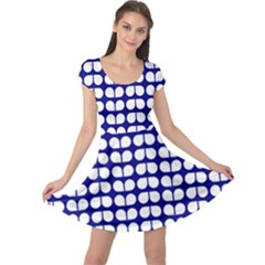 Blue And White Leaf Pattern Cap Sleeve Dresses