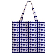 Blue And White Leaf Pattern Zipper Grocery Tote Bags