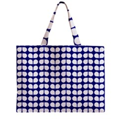 Blue And White Leaf Pattern Zipper Tiny Tote Bags