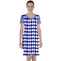 Blue And White Leaf Pattern Short Sleeve Nightdresses