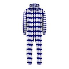 Blue And White Leaf Pattern Hooded Jumpsuit (Kids)