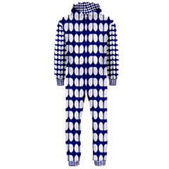 Blue And White Leaf Pattern Hooded Jumpsuit (Men)