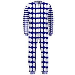 Blue And White Leaf Pattern OnePiece Jumpsuit (Men)