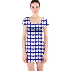 Blue And White Leaf Pattern Short Sleeve Bodycon Dresses