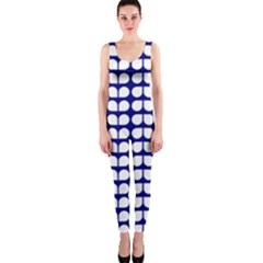 Blue And White Leaf Pattern Onepiece Catsuits
