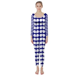 Blue And White Leaf Pattern Long Sleeve Catsuit