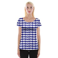 Blue And White Leaf Pattern Women s Cap Sleeve Top