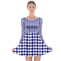 Blue And White Leaf Pattern Long Sleeve Skater Dress