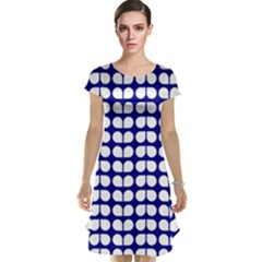 Blue And White Leaf Pattern Cap Sleeve Nightdresses
