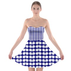 Blue And White Leaf Pattern Strapless Bra Top Dress