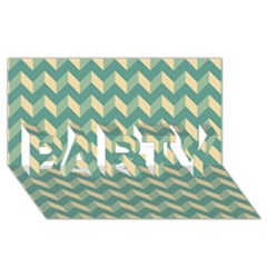 Modern Retro Chevron Patchwork Pattern PARTY 3D Greeting Card (8x4)