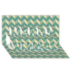 Modern Retro Chevron Patchwork Pattern Merry Xmas 3D Greeting Card (8x4)
