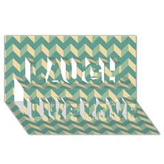 Modern Retro Chevron Patchwork Pattern Laugh Live Love 3d Greeting Card (8x4)