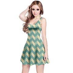 Modern Retro Chevron Patchwork Pattern Reversible Sleeveless Dresses