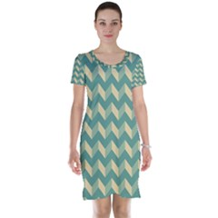 Modern Retro Chevron Patchwork Pattern Short Sleeve Nightdresses