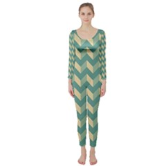 Modern Retro Chevron Patchwork Pattern Long Sleeve Catsuit
