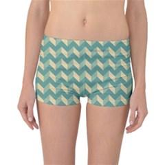 Modern Retro Chevron Patchwork Pattern Reversible Boyleg Bikini Bottoms