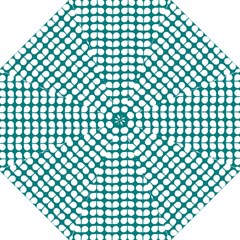 Teal And White Leaf Pattern Golf Umbrellas