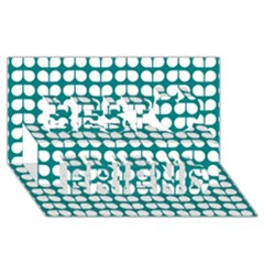 Teal And White Leaf Pattern Best Friends 3D Greeting Card (8x4)
