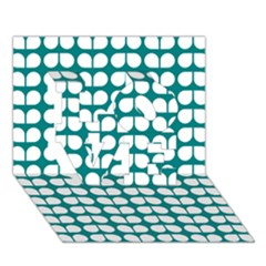 Teal And White Leaf Pattern Love 3d Greeting Card (7x5)