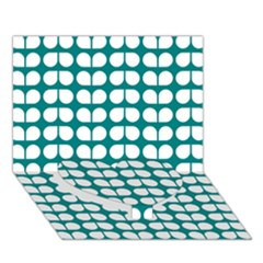 Teal And White Leaf Pattern Heart Bottom 3d Greeting Card (7x5)