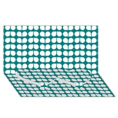 Teal And White Leaf Pattern Twin Heart Bottom 3d Greeting Card (8x4)