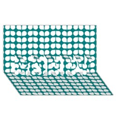 Teal And White Leaf Pattern Sorry 3d Greeting Card (8x4)