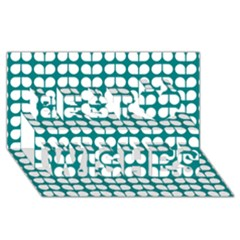 Teal And White Leaf Pattern Best Wish 3D Greeting Card (8x4)