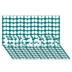 Teal And White Leaf Pattern Engaged 3d Greeting Card (8x4)
