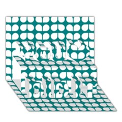Teal And White Leaf Pattern You Did It 3D Greeting Card (7x5)