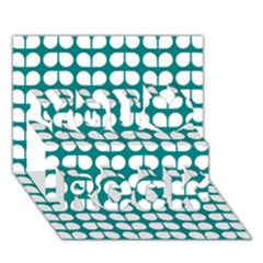 Teal And White Leaf Pattern You Rock 3D Greeting Card (7x5)